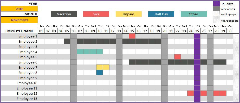 Employee Vacation Planner Template Excel Employee Vacation Tracker Excel Projecttactics
