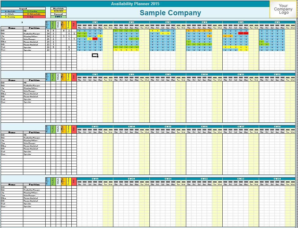 Employee Vacation Planner Template Excel Family Employee Availability Planner Microsoft Excel