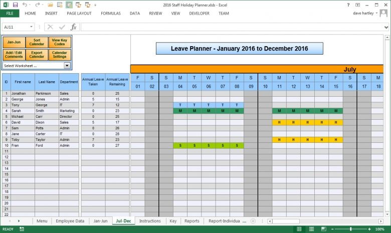 Employee Vacation Planner Template Excel Pin On Excel