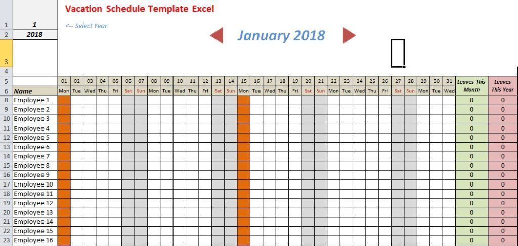 Employee Vacation Planner Template Excel Vacation Schedule Template Excel