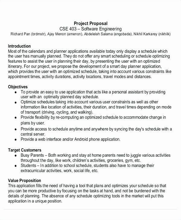 Engineering Project Plan Template Engineering Project Proposal Template Unique 12 software