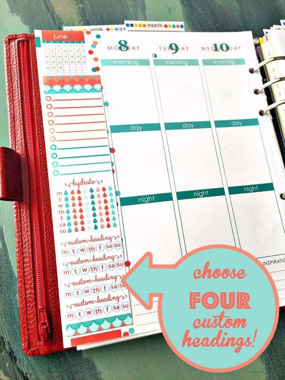 Erin Condren Life Planner Template Custom June Coral and Teal Scallop Printable Erin Condren