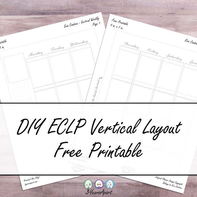 Erin Condren Life Planner Template Free Planner Printable Vertical Weekly Inserts Ring
