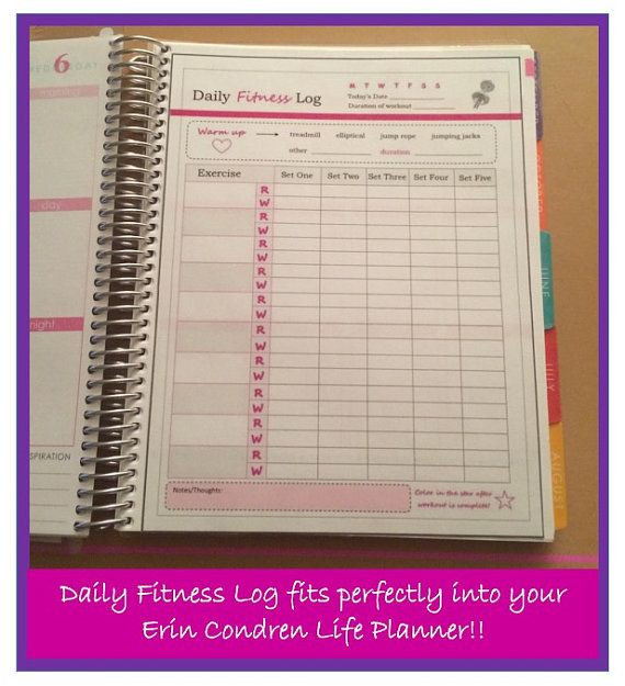 Erin Condren Life Planner Template Printable Exercise Log Fitness Planner by Dgirlexclusive