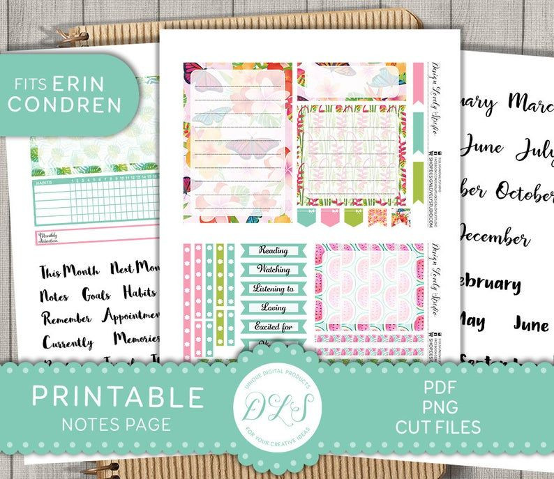 Erin Condren Life Planner Template Printable Notes Page Stickers Erin Condren Notes Page Kit
