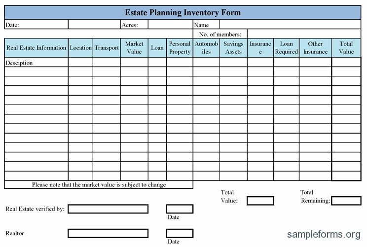 Estate Planning Worksheet Template Estate Planning Worksheet Template Beautiful Inventory form