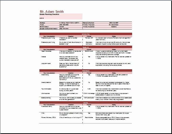 Estate Planning Worksheet Template Estate Planning Worksheet Template Inspirational Estate