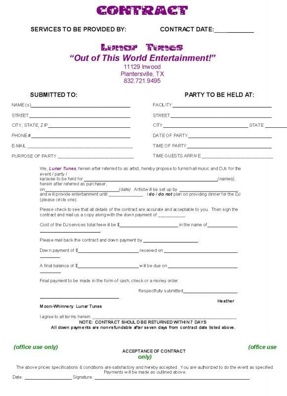 Event Planner Invoice Template Wedding Venue Contract