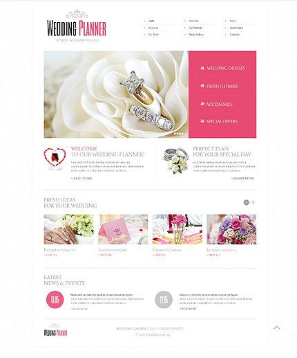 Event Planner Website Template Wedding Planner Website Template