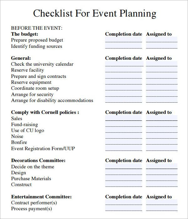 Event Planning Checklist Template event Planning Checklist Pdf