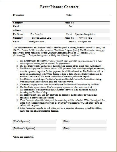 Event Planning Contract Template event Planner Contract Template for Word