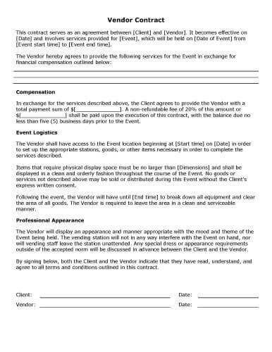 Event Planning Contract Template event Vendor Contract S Free Contract