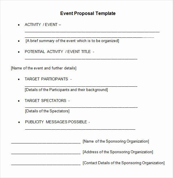 Event Planning Proposal Template event Planning Proposal Template Awesome 25 Sample event