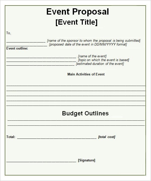 Event Planning Proposal Template event Proposal Templates …