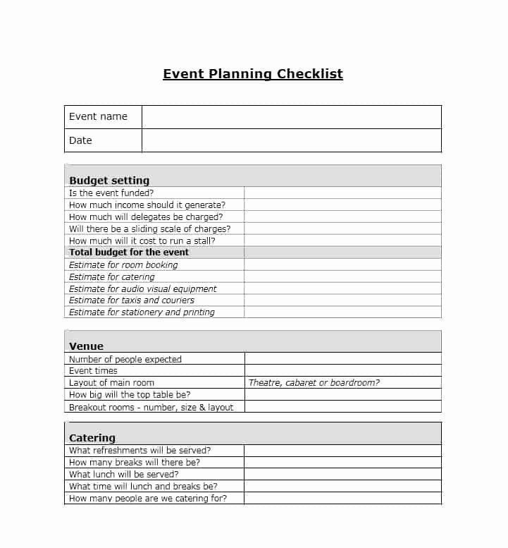 Event Planning Questionnaire Template event Planning Checklist Template Fresh 50 Professional