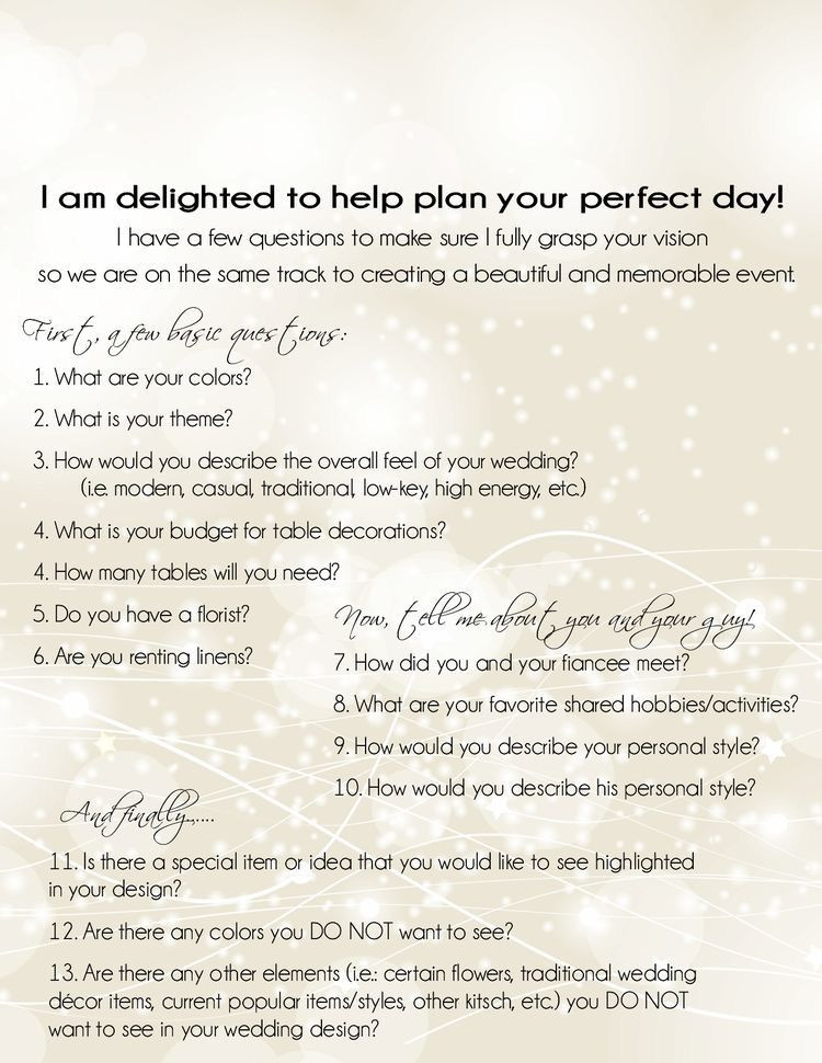 Event Planning Questionnaire Template Wedding Planning event Planning Questionnaire Consultation