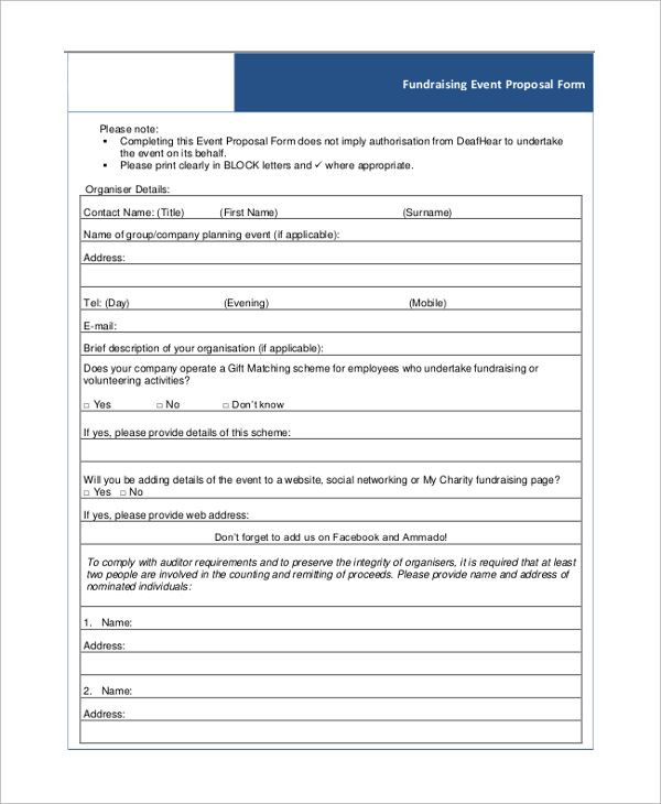Event Planning Template Pdf Fundraising event Proposal form