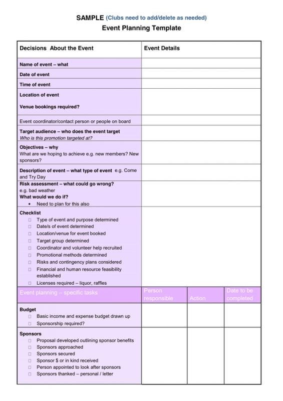 Event Planning Template Word event Planning Template