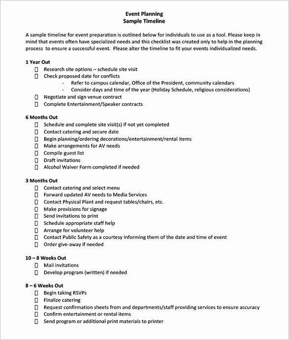 Event Planning Timeline Template event Planning Contract Template Free Inspirational 8 event