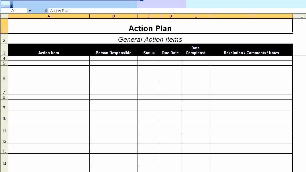 Excel Action Plan Template Action Plan Template for Employee Best Excellent Action