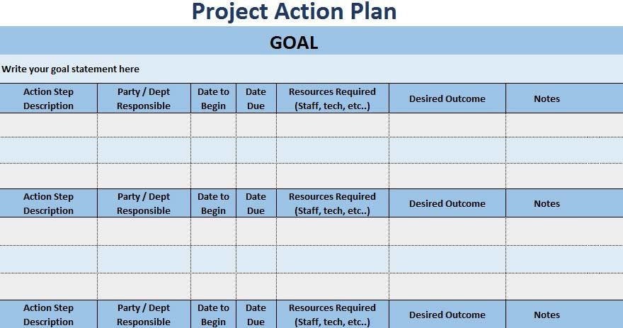 Excel Action Plan Template now Manage Your Project Through Project Action Plan Template