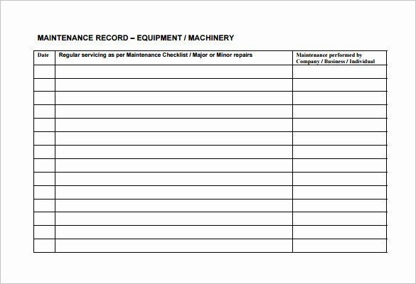 Facility Maintenance Plan Template Equipment Maintenance Schedule Template Excel Beautiful