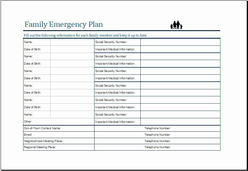 Family Disaster Plan Template Family Disaster Plan Template Unique Pin by Alizbath Adam