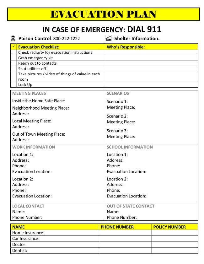 Family Emergency Preparedness Plan Template Emergency Evacuation Plan Template Free Elegant Printable