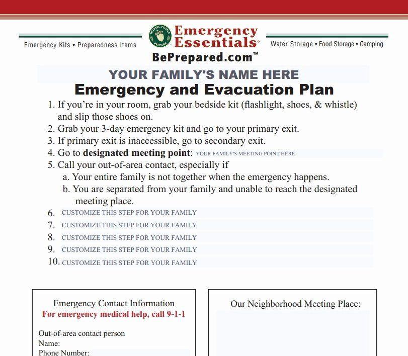 Family Emergency Preparedness Plan Template Emergency Evacuation Plan Template Free New Emergency