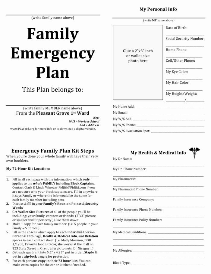 Family Emergency Preparedness Plan Template Sample Emergency Evacuation Plan Template Inspirational Cal