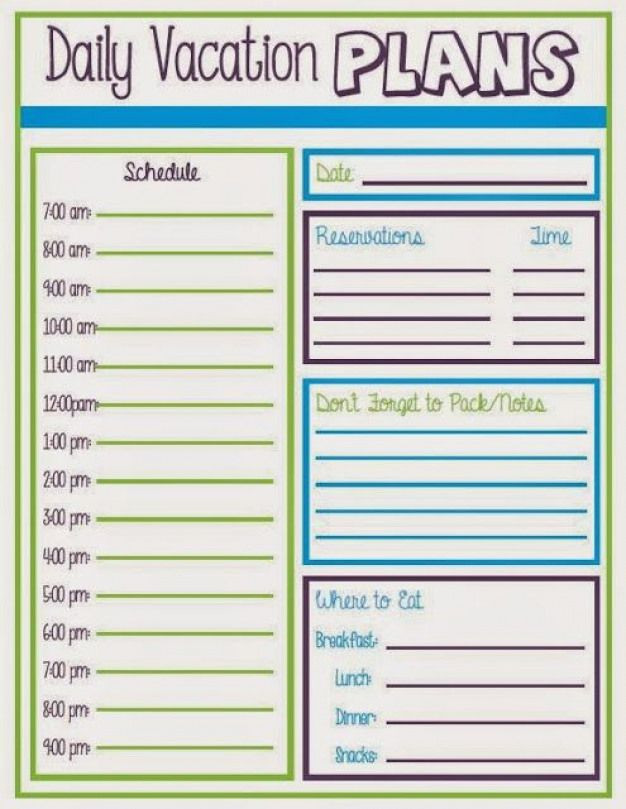 Family Vacation Planner Template Daily Vacation Schedule Travelitinerarytemplate Travel