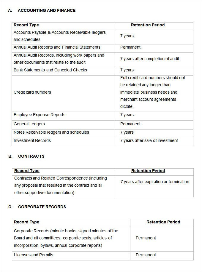 File Plan Template Records Management Record Retention Schedule Templates