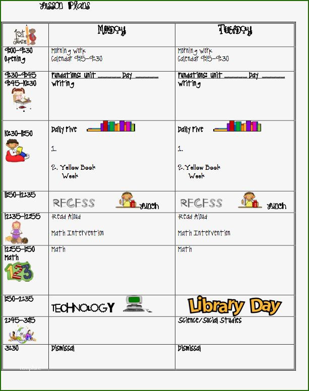 First Grade Lesson Plan Template 13 Leading First Grade Lesson Plan Template In 2020