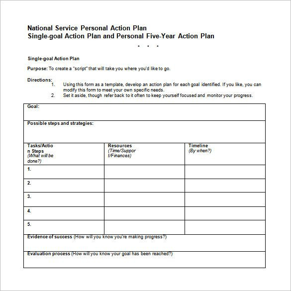 Five Year Plan Template Excel 5 Year Career Action Plan Template Word Free Downlaod