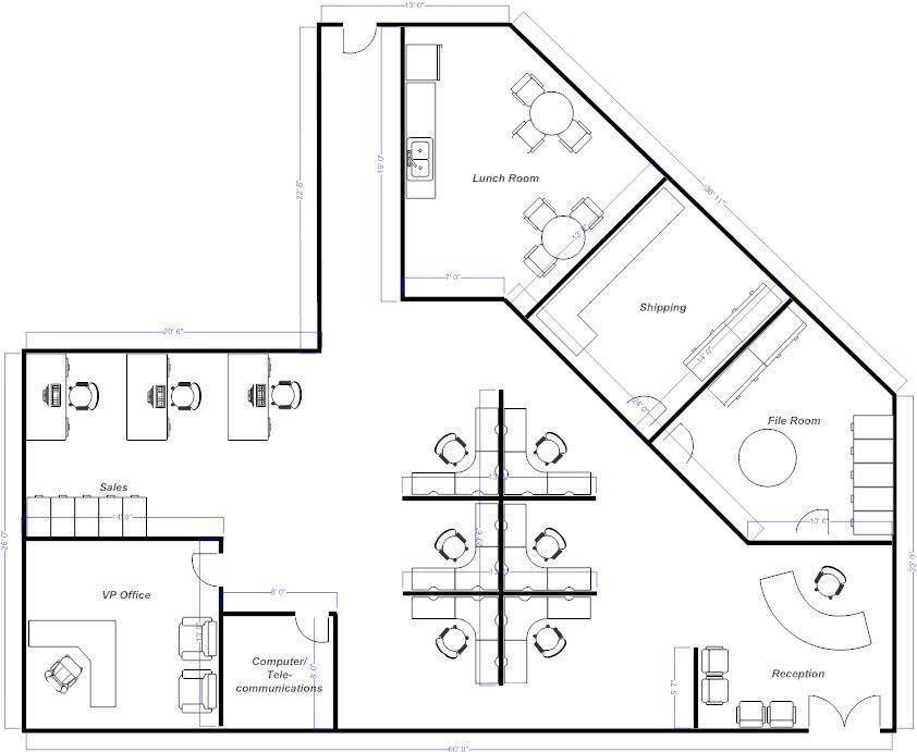 Floor Plan Design Template Open Fice Layout Example Smartdraw