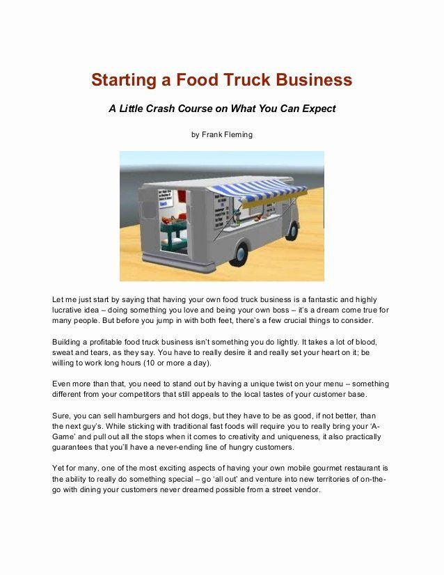 Food Truck Business Plan Template Food Truck Business Plan Template Fresh Business Plan Food