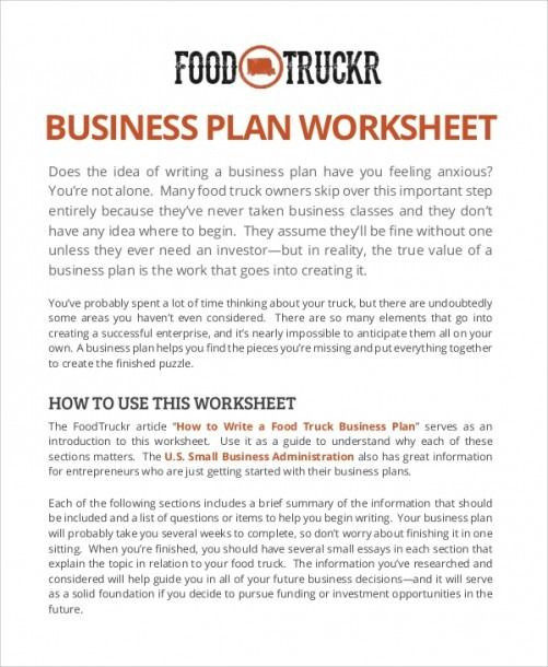 Food Truck Business Plan Template Sample Business Plan Worksheet
