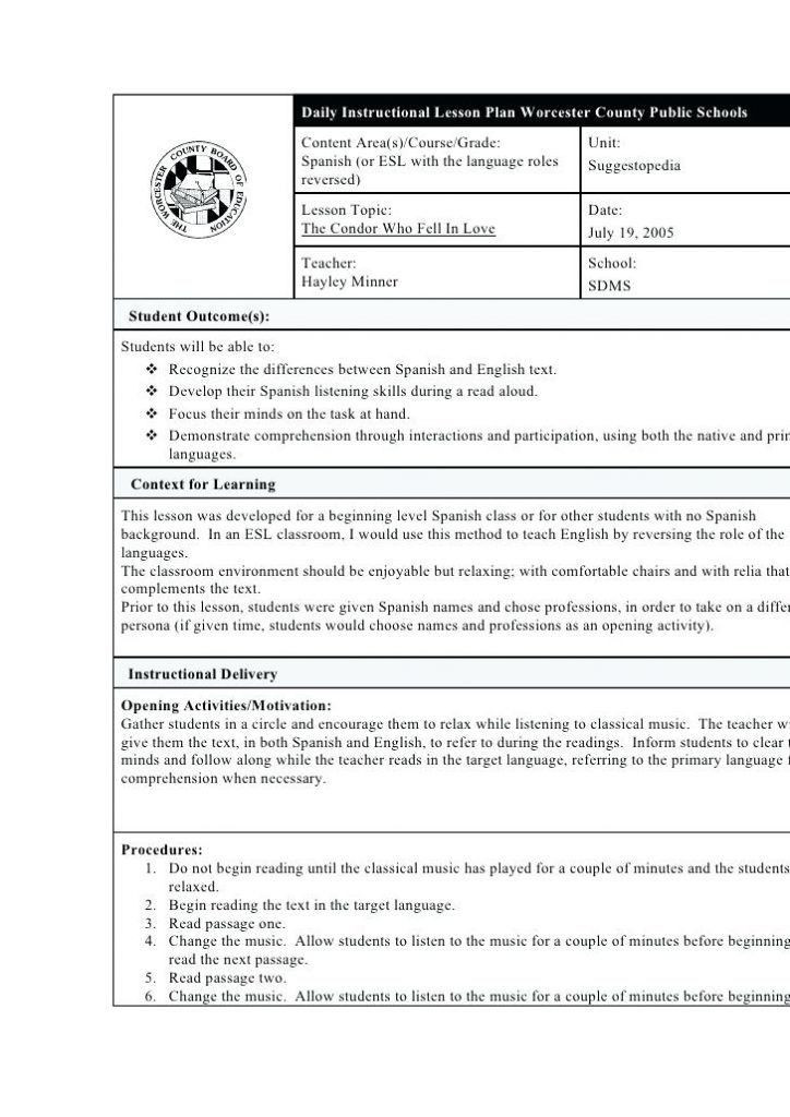 Foreign Language Lesson Plan Template World Language Lesson Plan Template Unique Lesson Plan