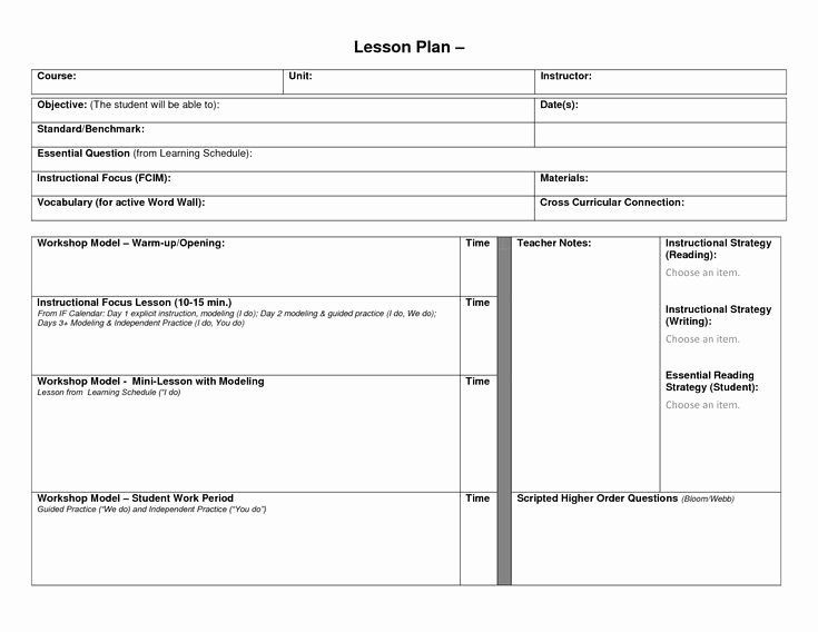 Four Year College Plan Template College 4 Year Plan Template Awesome Blank Lesson Plan