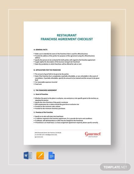Franchise Business Plan Template Restaurant Franchise Agreement Checklist Template Word