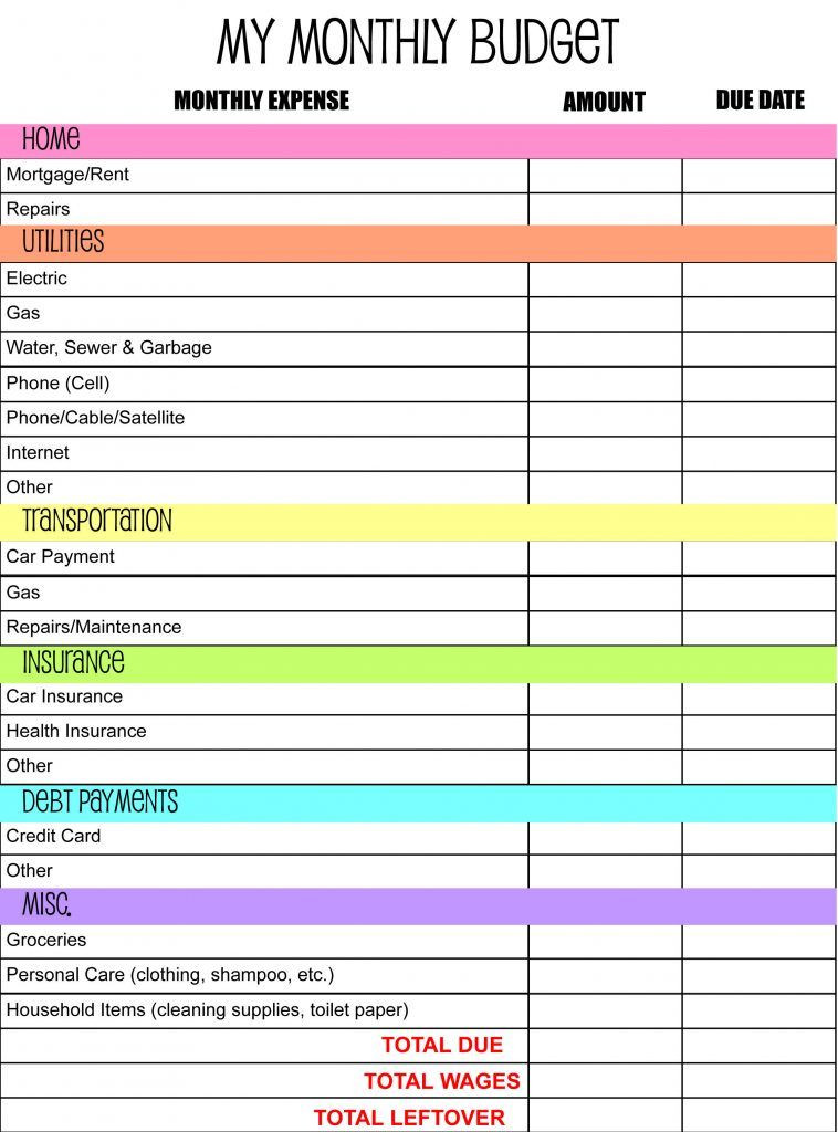 Free Budget Planner Template Bud Keeper Template Page Templates Bud Planning