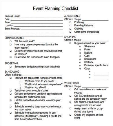 Free event Plan Template Frei Druckbare Partyplanungspapiere