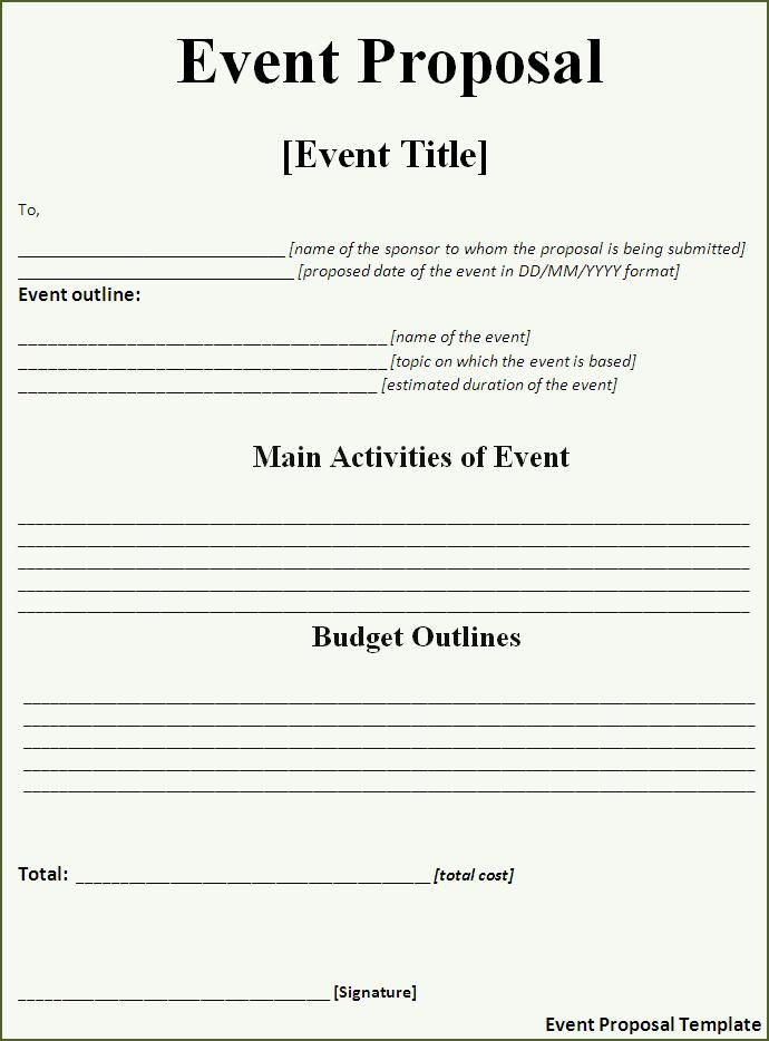 Free event Planning Template Download event Proposal Template