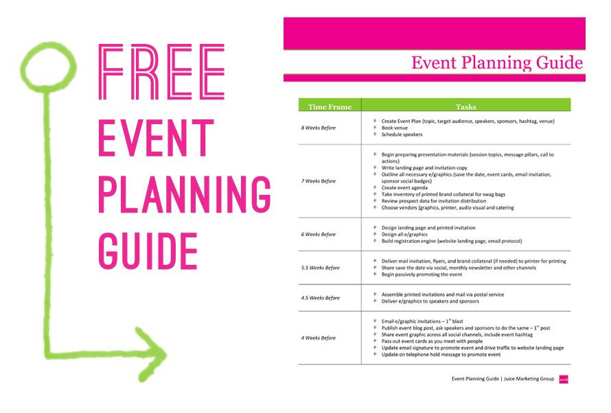 Free event Planning Template Free event Planning Guide Juice Marketing Group