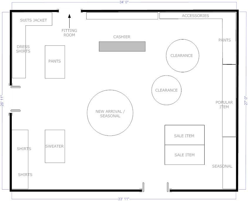 Free Floor Plan Template Boutique Free Flow Store Layout Example Smartdraw