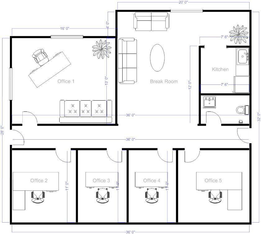 Free Floorplan Template Fice Layout Example Smartdraw