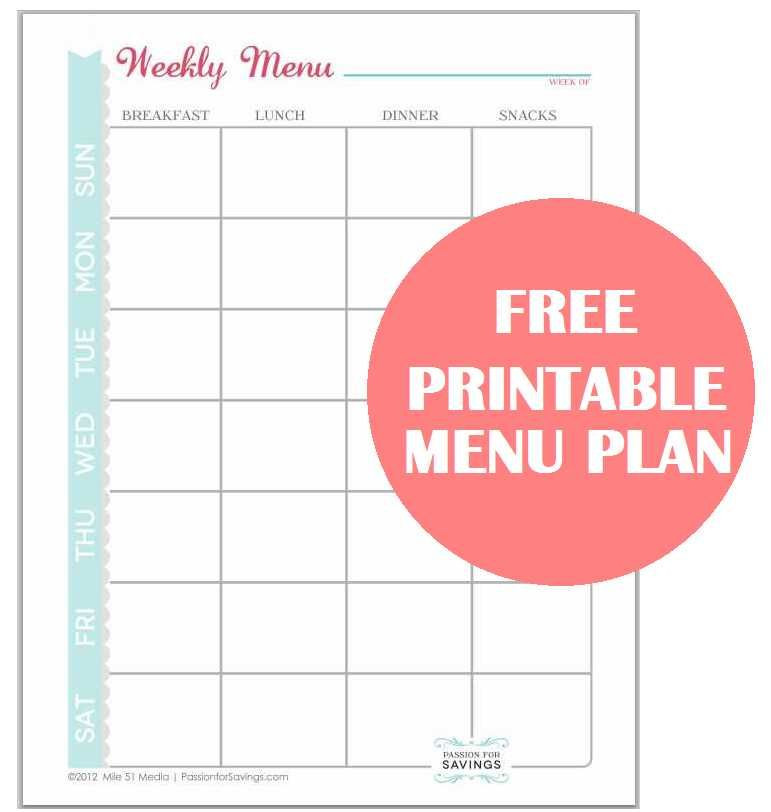 Free Menu Planner Template Free Printable Menu Plan Worksheet Passion for Savings