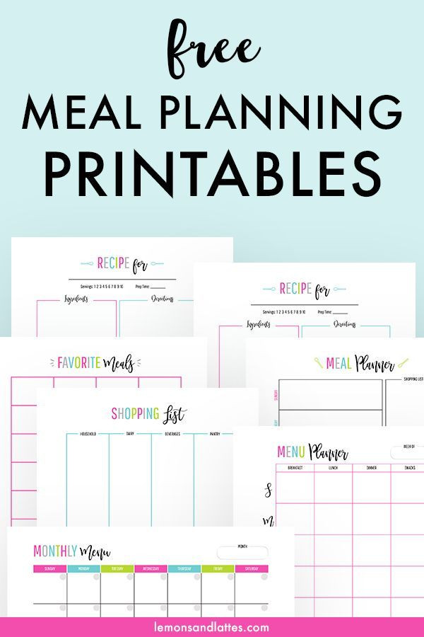 Free Monthly Meal Planner Template Meal Planning Printables