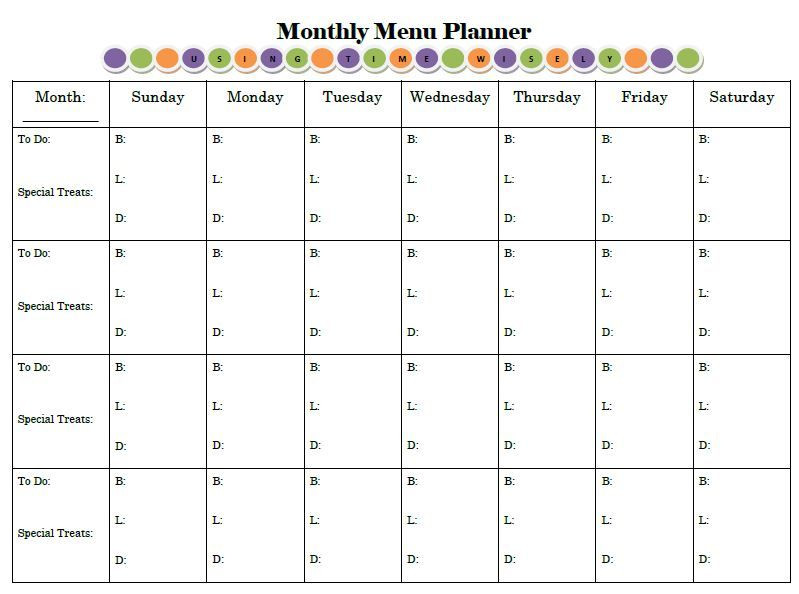 Free Monthly Meal Planner Template Planning for Success Print and Display Your Menu Planner
