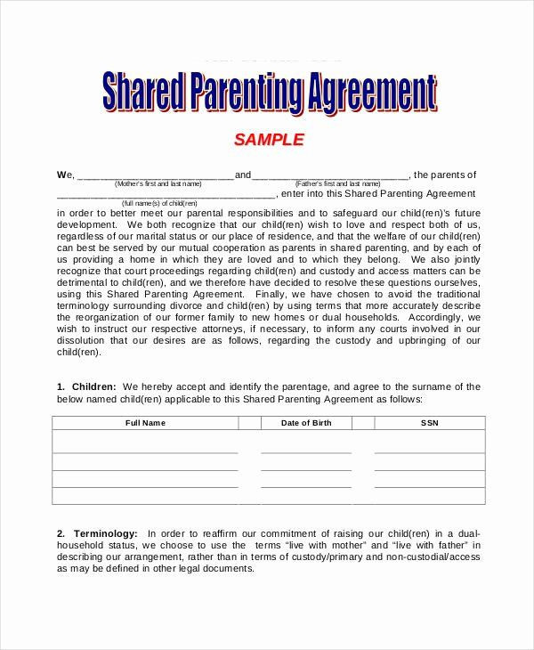 Free Parenting Plan Template Long Distance Parenting Plan Template Beautiful Parenting